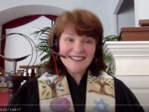Rev. Susanne conducts remote worship